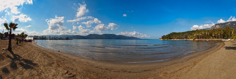 Panorama of beach at Akyaka near Stock Image