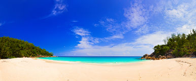 Panorama of beach Anse Georgette, Seychelles Royalty Free Stock Image