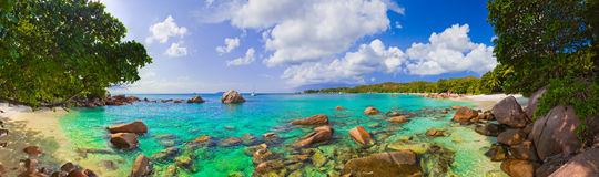 Panorama of beach Anse Lazio at Seychelles Royalty Free Stock Photo