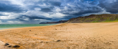 Panorama of beach by the Arctic sea in Iceland Stock Photo