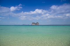 Panorama beach and center island with sunny sky Royalty Free Stock Image