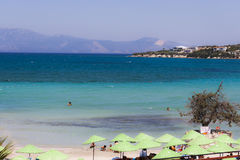 Panorama on a beach of Cesme Izmir - Turkey. A wonderful panorama on a beach of Cesme - Izmir Turkey: the sea has beautiful blue tones and the sand is white Stock Photography