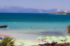 Panorama on a beach of Cesme Izmir - Turkey. A wonderful panorama on a beach of Cesme - Izmir Turkey: the sea has beautiful blue tones and the sand is white Royalty Free Stock Image