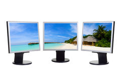 Panorama of beach on computer screens Royalty Free Stock Photography