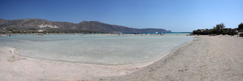 Panorama of the beach Elafonisi, Crete Royalty Free Stock Photography