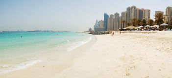 Panorama of the beach at Jumeirah Beach Residence Royalty Free Stock Photo