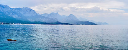 Panorama of beach at Kemer, Antalya, Turkey. Mediterranean sea royalty free stock images