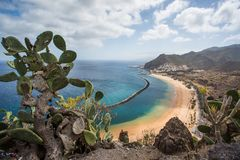 Panorama of beach Las Teresitas, Tenerife, Canary Islands, Spain. Nature, coastline. Beautiful Playa de las Teresitas, Spain,Tenerife Royalty Free Stock Photography