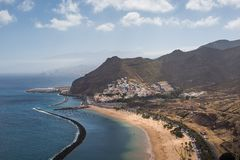 Panorama of beach Las Teresitas, Tenerife, Canary Islands, Spain. Nature, coastline. Beautiful Playa de las Teresitas, Spain,Tenerife Stock Images