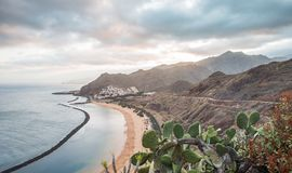 Panorama of beach Las Teresitas, Tenerife, Canary Islands, Spain. Nature, coastline. Beautiful Playa de las Teresitas, Spain,Tenerife Stock Image