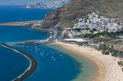 Panorama of beach Las Teresitas, Tenerife, Canary Islands, Spain. Playa de Las Teresitas, a famous beach near Santa Cruz de Tenerife in the north of Tenerife Royalty Free Stock Photos