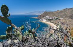 Panorama of beach Las Teresitas, Tenerife, Canary Islands, Spain Royalty Free Stock Photography