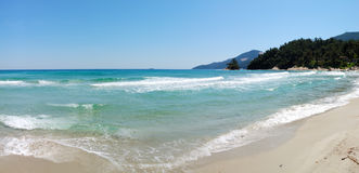 Panorama of the beach at luxury hotel Stock Photos