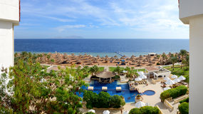 Panorama of the beach at luxury hotel Stock Photography