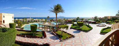 Panorama of the beach at luxury hotel Royalty Free Stock Photography