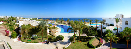 Panorama of the beach at luxury hotel Royalty Free Stock Image