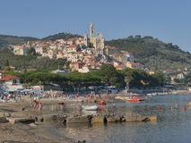 Panorama of Cervo. Panorama from the beach of the medieval village of Cervo, Liguria, Italy Stock Images