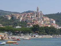 Panorama of Cervo. Panorama from the beach of the medieval village of Cervo, Liguria, Italy Stock Photos