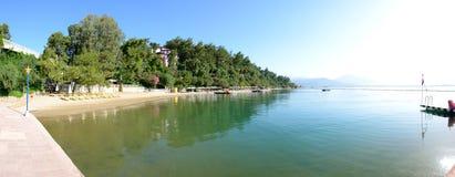 Panorama of the beach on Mediterranean turkish resort Royalty Free Stock Photos