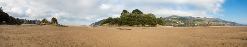 Panorama of the beach in Mundaka Royalty Free Stock Images