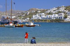 Panorama of beach in Mykonos town, Greece royalty free stock photo