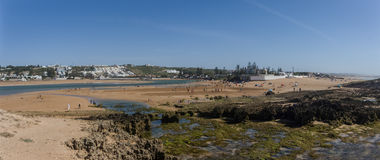 Panorama of beach Oualidia lagoon in same name village in Atlantic ocean coast, Morocco stock image