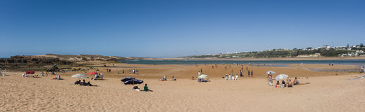 Panorama of beach Oualidia lagoon in same name village in Atlantic ocean coast, Morocco. Oualidia , Morocco - May 6, 2017: Panorama of beach Oualidia lagoon in royalty free stock photography