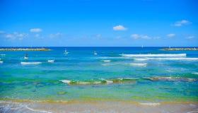 Panorama of the beach in Tel Aviv Stock Photo