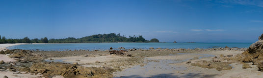 Panorama of the beach in Thailand. Royalty Free Stock Photography