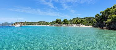 Panorama of a beach on Tsoungria island near Skiathos island. In Greece stock image