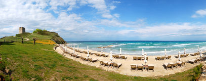 Panorama of a beach and turquoise water Stock Photography