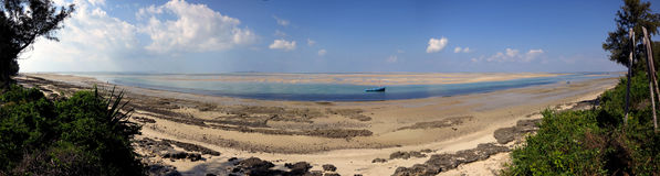 Vilanculos Beach, Mozambique. Panorama of the beach at Vilanculos at low tide Royalty Free Stock Photo
