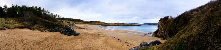 Panorama of the beaches in Ards Forest Park in Donegal Ireland. The Ards Forest park is located in Donegal and is full of beautiful nature, landscape forest and royalty free stock photos