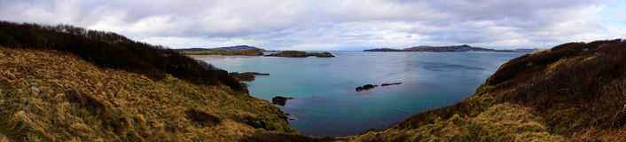 Panorama of the beaches in Ards Forest Park in Donegal Ireland. The Ards Forest park is located in Donegal and is full of beautiful nature, landscape forest and Stock Photography