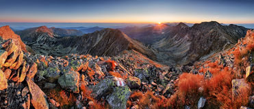 Panorama of beaufiful Slovakia moutain at sunrise, Rohace Tatra.  Stock Photos