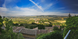 Panorama of the Beaujolais landscape, France Royalty Free Stock Photo