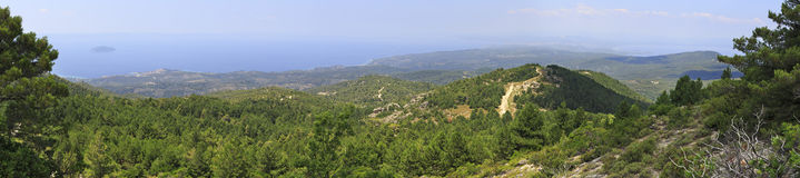 Panorama of beautiful Aegean coast. Royalty Free Stock Photos