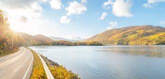 Panorama of beautiful autumn view stock images