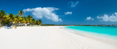 Panorama of a beautiful Caribbean beach Stock Images