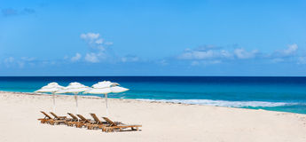 Panorama of a beautiful Caribbean beach Stock Photos