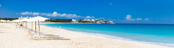 Panorama of a beautiful Caribbean beach Royalty Free Stock Photo