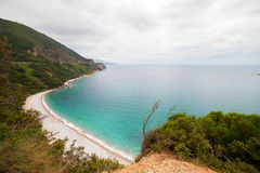 Panorama beautiful beach Jaz in Montenegro, Mediterranean. Stock Photo