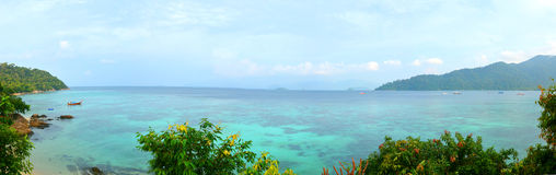Panorama beautiful beach tropical sea. Panorama beautiful beach and tropical sea Royalty Free Stock Images