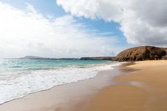 Panorama of beautiful beach and tropical sea of Lanzarote. Canaries.  stock images