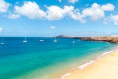 Panorama of beautiful beach and tropical sea of Lanzarote. Canaries.  stock photo