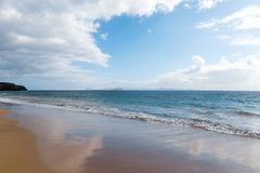 Panorama of beautiful beach and tropical sea of Lanzarote. Canaries.  royalty free stock photography