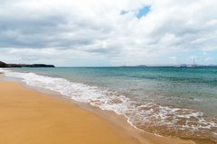 Panorama of beautiful beach and tropical sea of Lanzarote. Canaries.  royalty free stock images