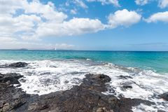Panorama of beautiful beach and tropical sea of Lanzarote. Canaries.  stock photos
