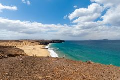 Panorama of beautiful beach and tropical sea of Lanzarote. Canaries.  royalty free stock image