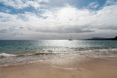 Panorama of beautiful beach and tropical sea of Lanzarote. Canaries.  stock image